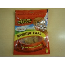 (72) Munch and Crunch Rawhide Ears Natural 3pk